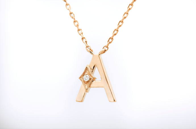 ceejayeff letter A diamond necklace in yellow gold
