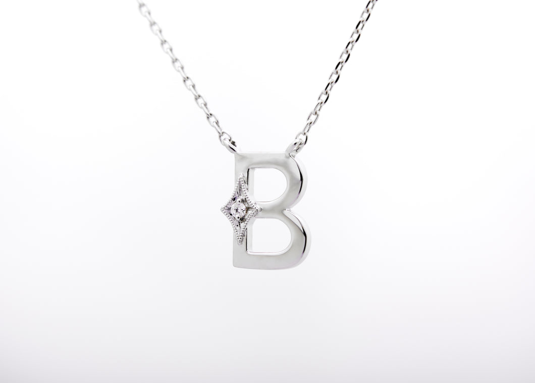 ceejayeff letter B diamond necklace in white gold