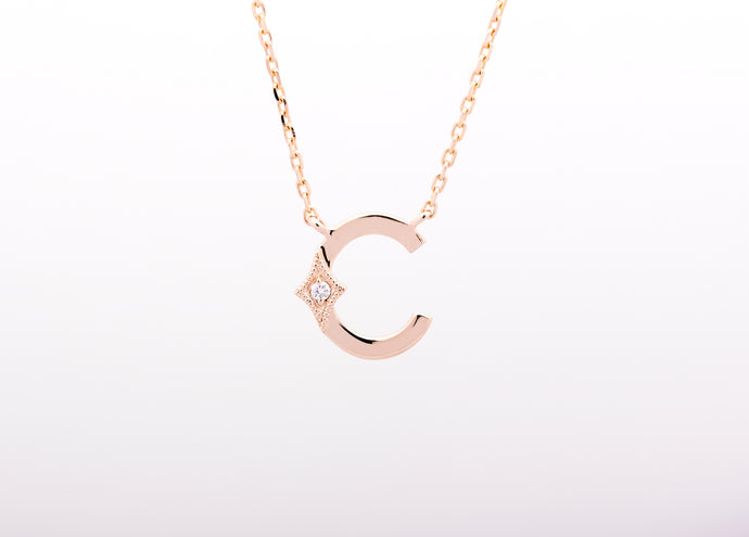 ceejayeff letter C diamond necklace in rose gold