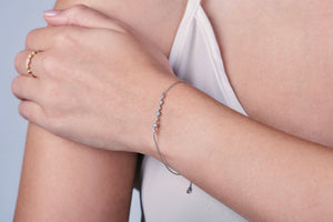 Ceejayeff pretty white gold and diamond bracelet on a wrist