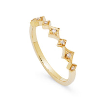 Load image into Gallery viewer, Ceejayeff alt star ring yellow gold and diamond stackable band