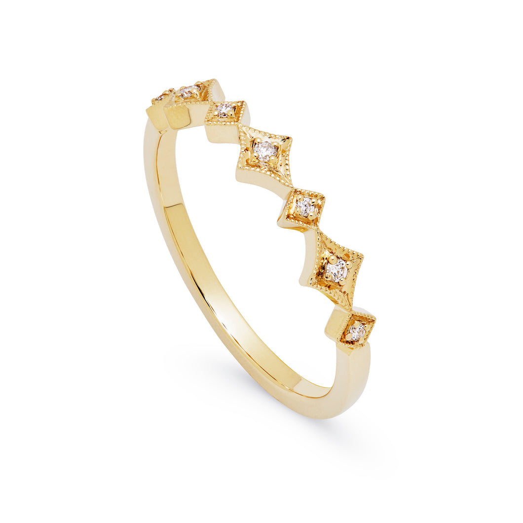 Ceejayeff alt star ring yellow gold and diamond stackable band