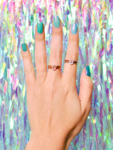 Load image into Gallery viewer, Ceejayeff curve ring and pear point ring in different gold tones on a hand