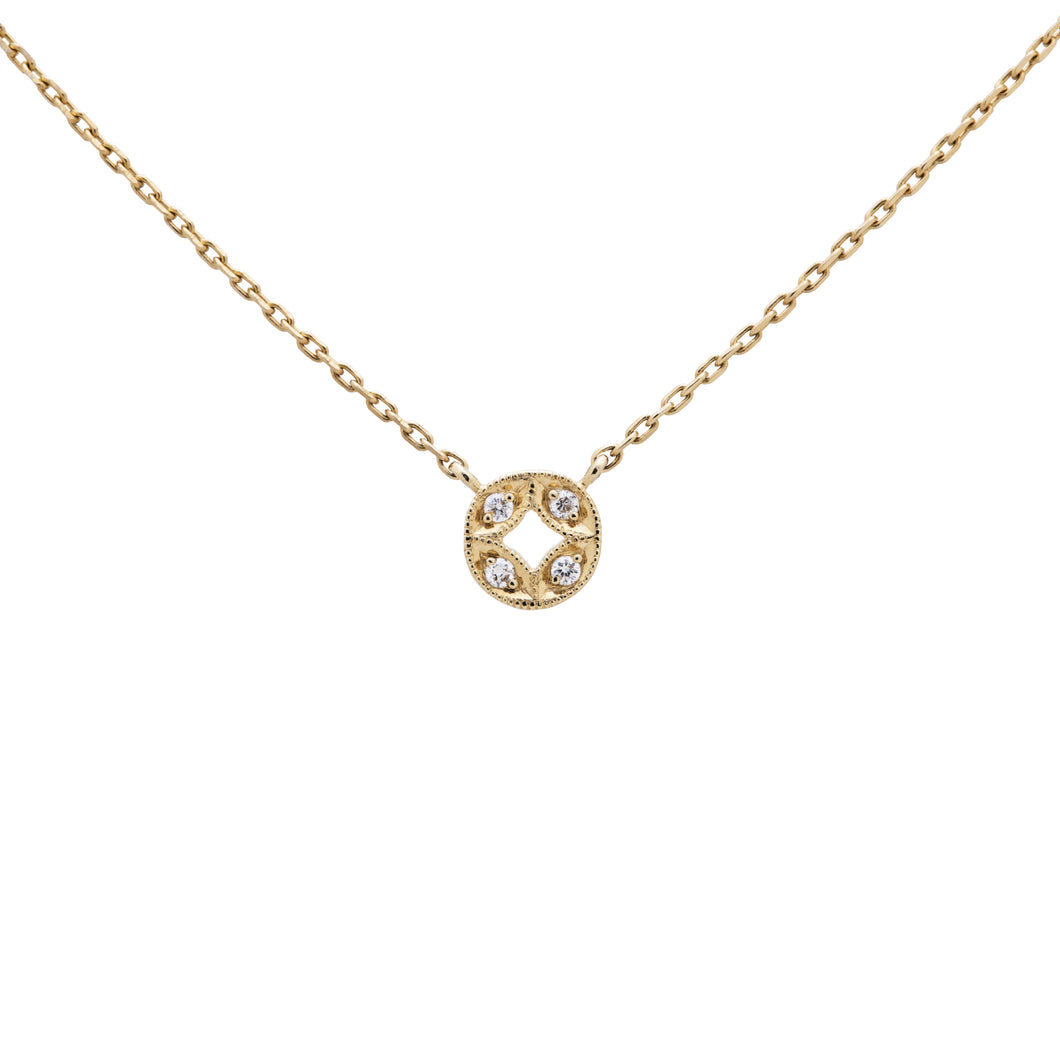 Ceejayeff circle Marq diamond necklace in yellow gold