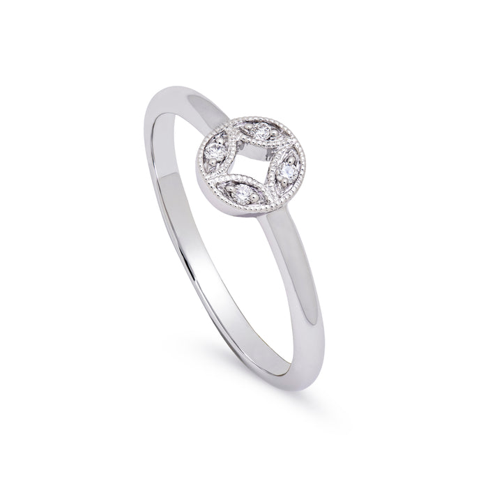 Ceejayeff circle Marq diamond ring alternative engagement ring in white gold