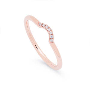 Ceejayeff curve diamond ring in rose gold wedding band