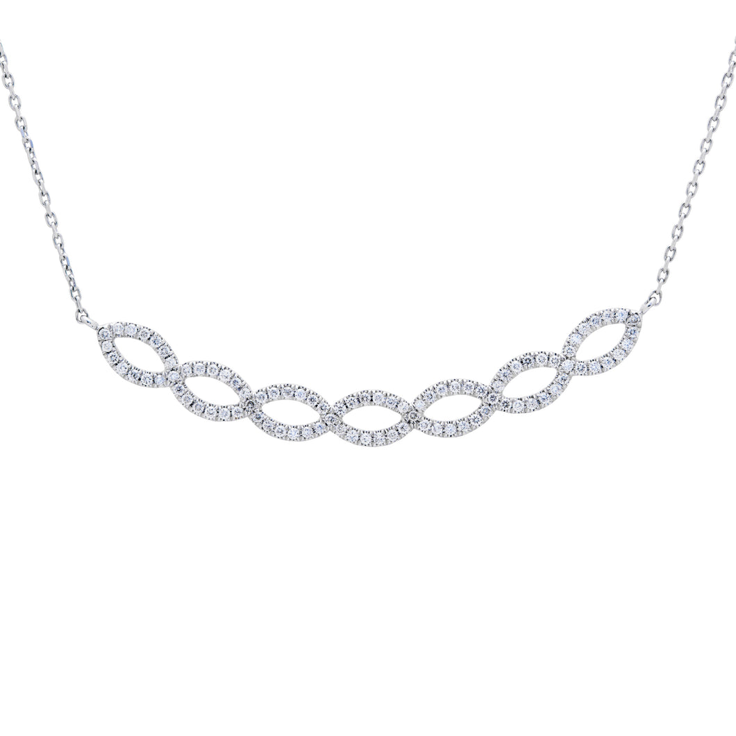 Ceejayeff diamond Marq strand bar necklace in white gold