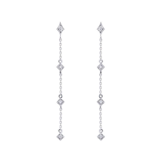 Ceejayeff long star diamond chain earring  in white gold