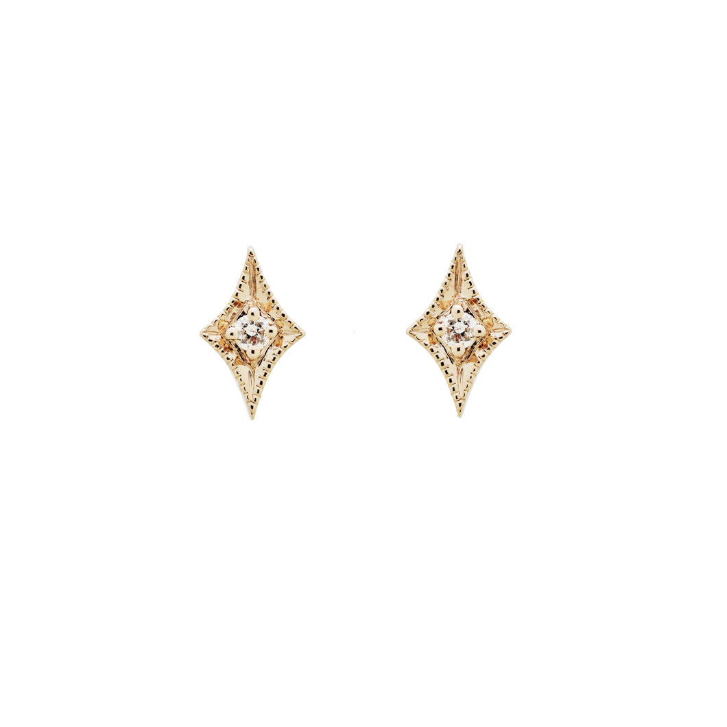 Ceejayeff long star diamond stud earring in yellow gold