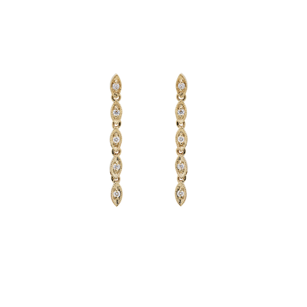 Ceejayeff multi Marq diamond dangle earring in yellow gold
