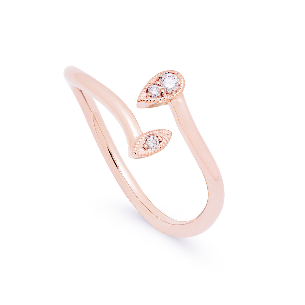 Ceejayeff pear Marq diamond bypass ring in rose gold