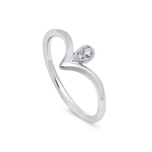 Ceejayeff pear point diamond ring in white gold