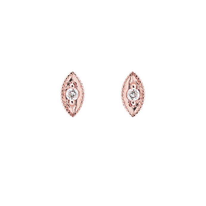 Ceejayeff single diamond Marq stud earring in rose gold