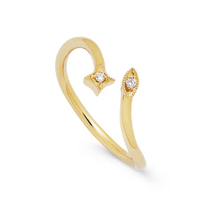 Ceejayeff star Marq diamond bypass ring in yellow gold