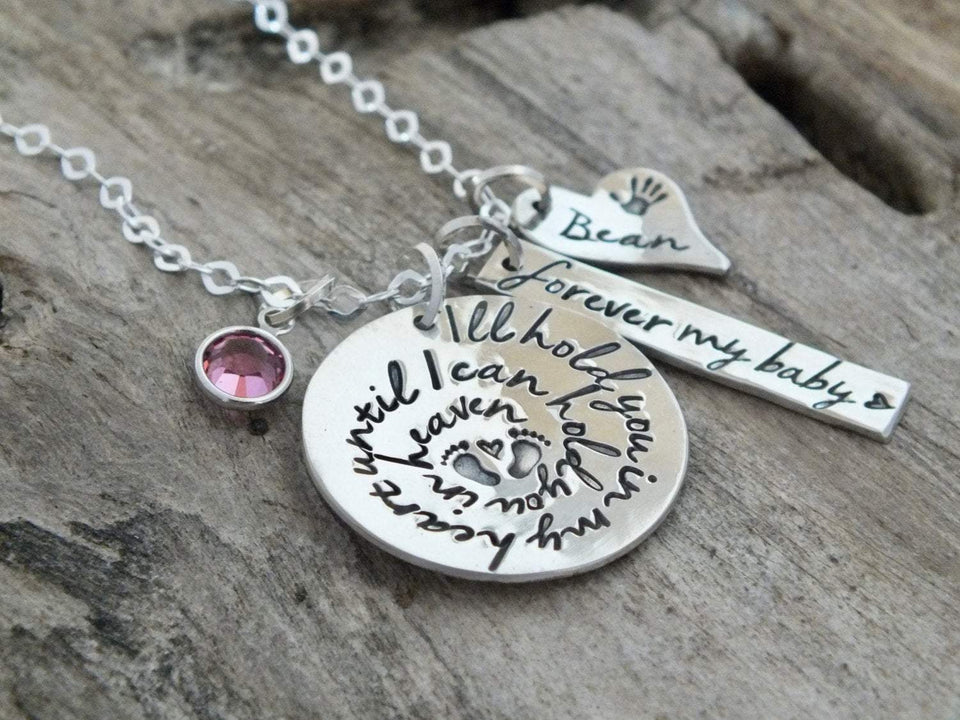 Miscarriage necklace with baby footprints | Sterling Silver | TheSilverWing