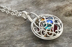Birthstone necklace for mom  | sterling silver  | thesilverwing