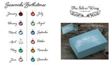 Load image into Gallery viewer, Swarovski birthstone examples and gift box | TheSilverWing.com