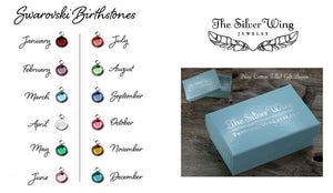 Swarovski birthstone examples and gift box | TheSilverWing.com