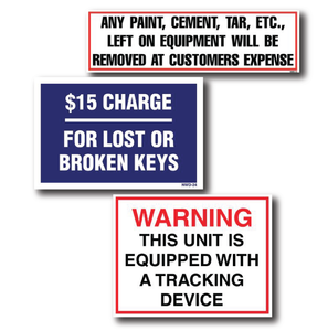 Rental Equipment Decals