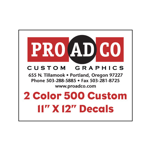 "Custom Decals 11"" X 12"" - 500 count"