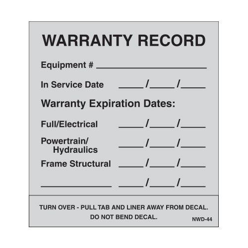 "Maintenance Aluminum Foil Decal 3"" X 3.75"" [NWD-44] 25 count"