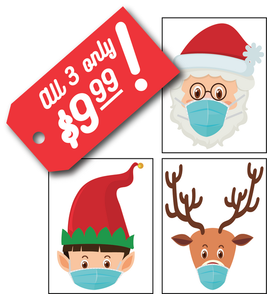 Holiday Mask Window Clings - set of 3