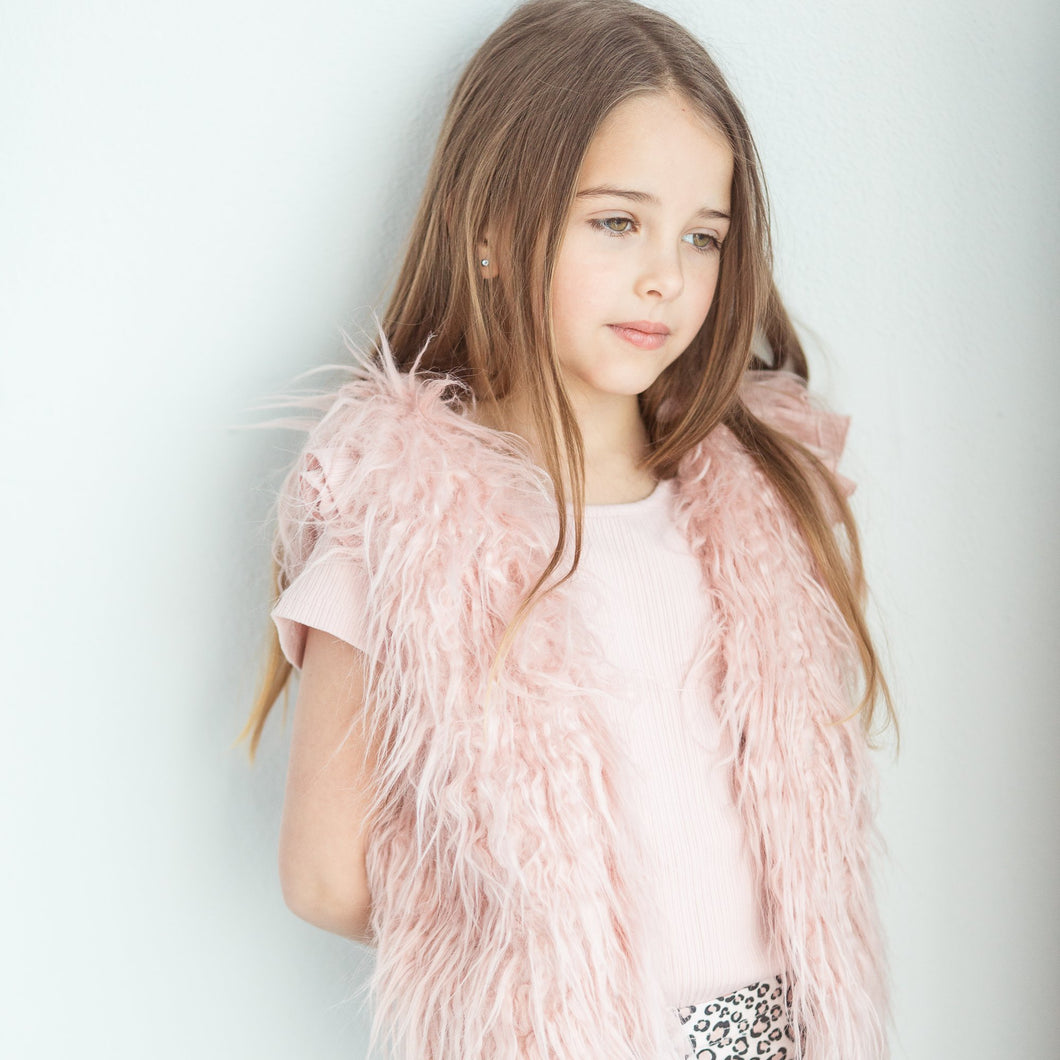 Little Hearts Blush Shaggy Vest