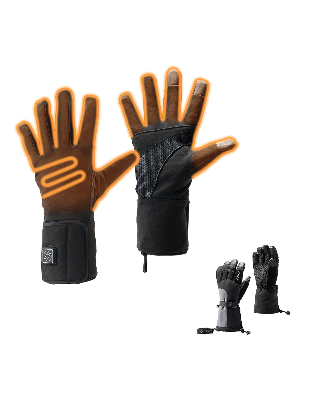 ORORO Men Heated Fleece Hoodie - Grey