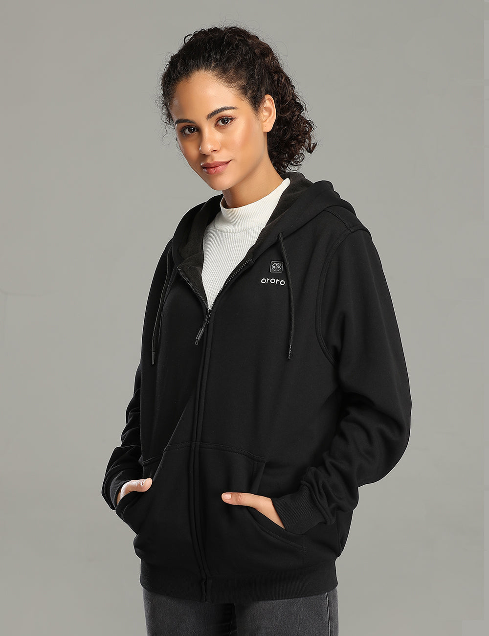 ORORO Women Heated Fleece Hoodie - Black
