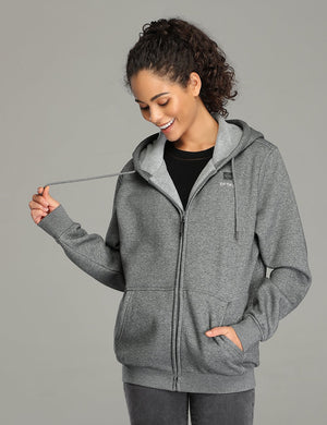 Women Heated Fleece Hoodie - Grey