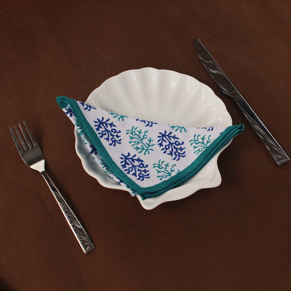 Mountain Leaf Hand block printed napkins made from recycled cotton