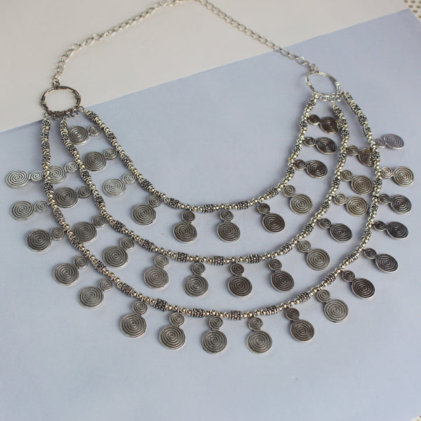 Silver coins neckpiece made of recycled nickel