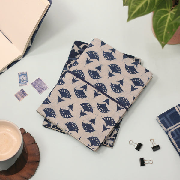 Sustainable Upcycled Handmade notebooks (Indigo Mushroom)