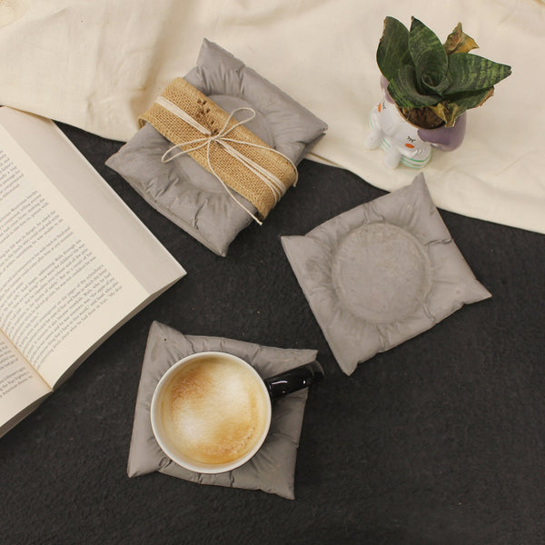 Exquisite quirky cement cushion shaped coasters