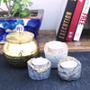Exquisite handmade concrete tealight holders with golden detailing in set of 3 of white and grey color