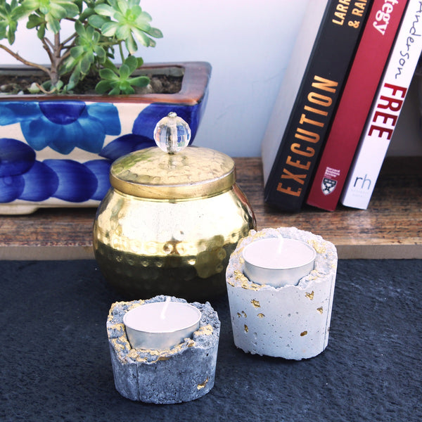 Exquisite handmade concrete tealight holders with gloden detailing in set of 2 of white and grey color