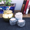Exquisite handmade concrete tealight holders with gloden detailing in set of 3 of white and grey color
