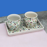 Tea Talks (Mini Flora) set of 2 kulhad and tray made in ceramic