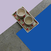 Tea Talks (Summer) set of 2 kulhads and tray made in ceramic