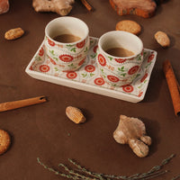 Tea Talks (Summer) set of 2 kulhads and tray made in ceramic. A beautiful breakfast set.