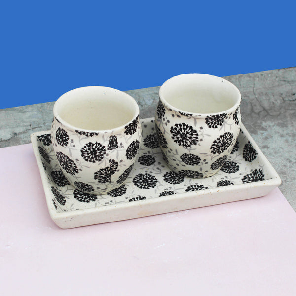 Floral Monochrome Kulhad Tea Conversations made with ceramic. Conversation starters for your autumn evening chai.