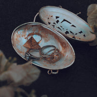 Our ring holder made with natural mother of pearl shell to carry your treasured trinkets and rings.