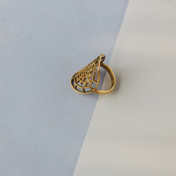 Gold Precious Ring made with brass with intricate design