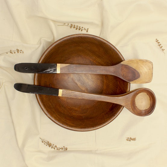 Serving spoon made of keekar wood in set of 2