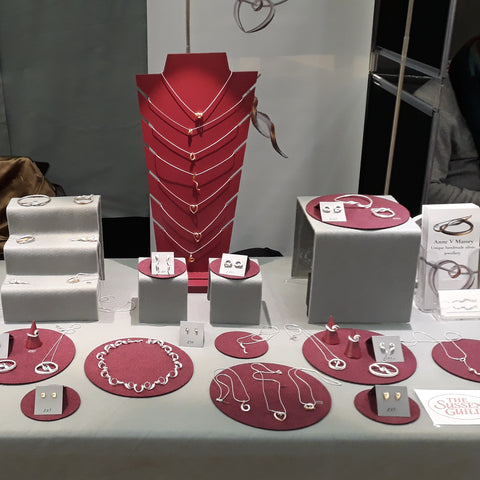 My Sussex Guild show setup, showing tabletop with work displayed