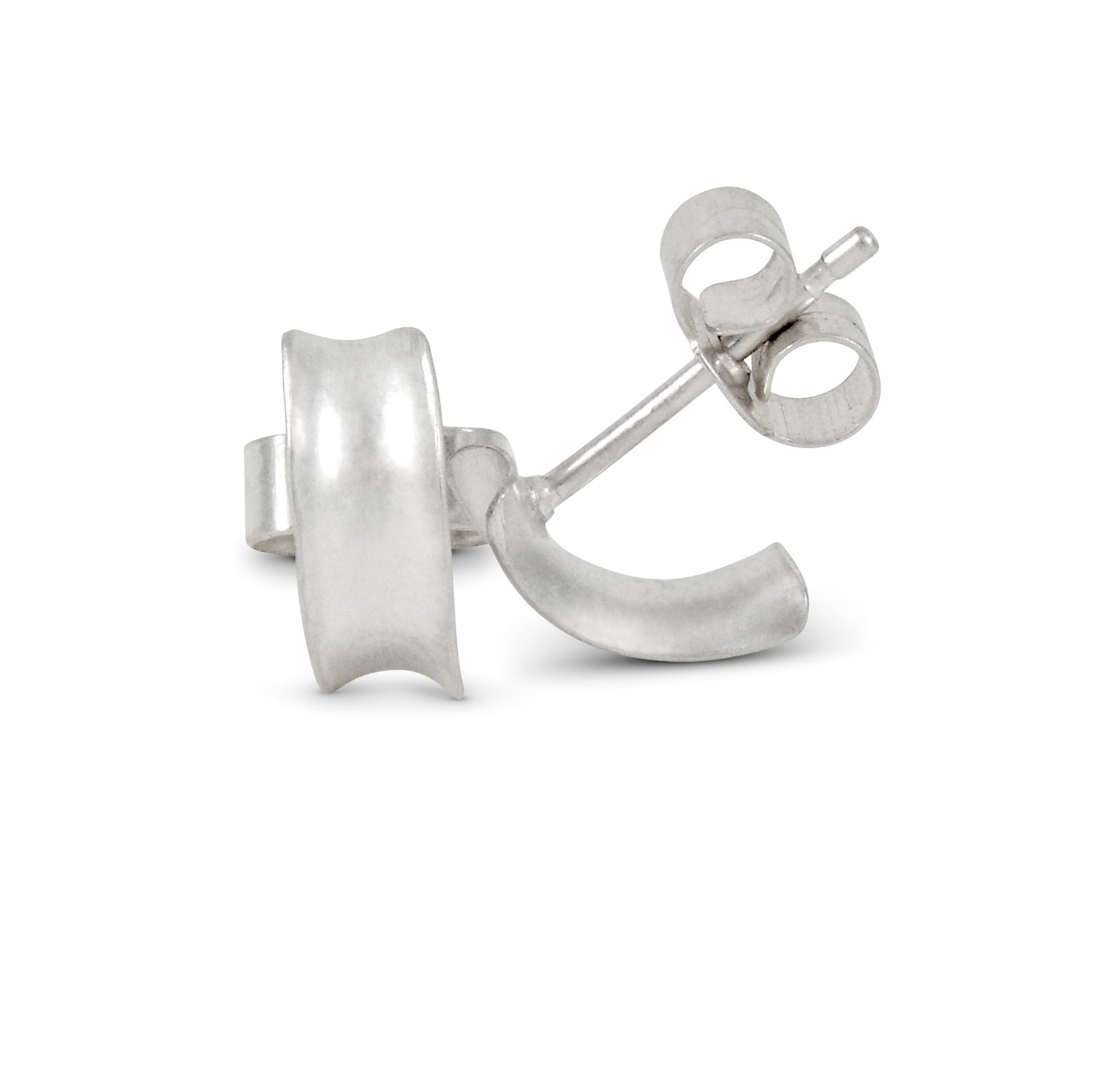 Demilune studs style 1, plain silver, showing  one stud from the front and one from the side with pin and butterfly