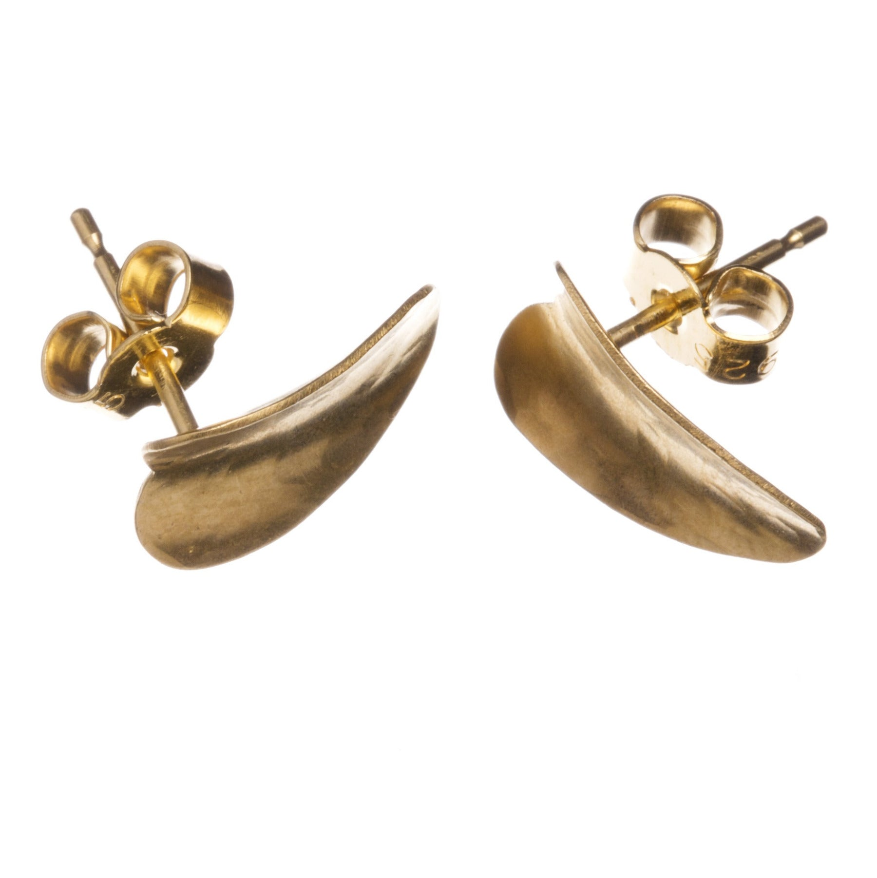 Gold vermeil heart studs, showing the pins and butterflies. Also shows the curve of the piece.