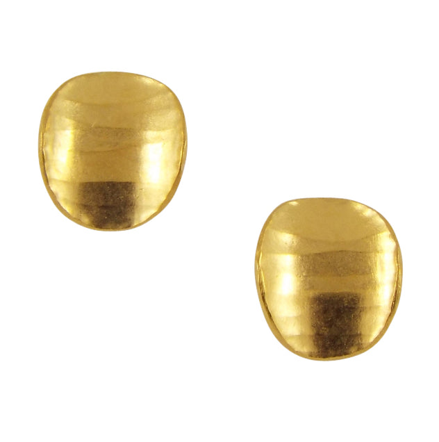 A pair of oval shaped stud earrings, gold plated, with a subtle curve