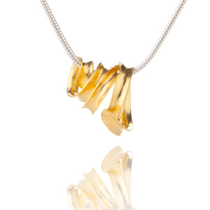 Open image in slideshow, Gold vermeil ribbon pendant on silver snake chain, hanging