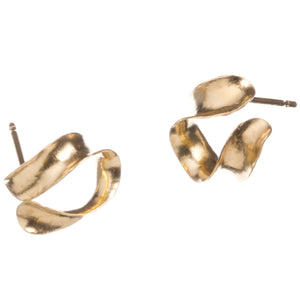 Gold vermeil Whorl studs, showing two different views which demonstrate the 3-dimensional curve.